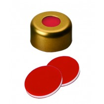11mm Combination Seal: Magnetic Cap, gold lacquered, centre hole; PTFE red/Silicone white/PTFE red, 45° shore A, 1.0mm