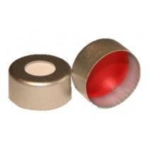 Vials, Caps and Closures: Aluminium Crimp Cap, 1mm, Red PTFE