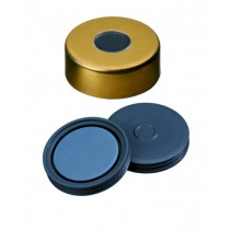 20mm Combination Seal: Magnetic Cap, gold lacquered, 8mm centre hole; Pharma-Fix-Septa, Butyl/PTFE, 50° shore A, 3.0mm