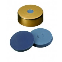 20mm Combination Seal: Magnetic Cap, gold lacquered, 5mm centre hole; Moulded Septa Butyl/PTFE, grey, 50° shore A, 3.0mm