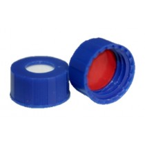"""ST2500 .040"""" (1MM) Thick, red PTFE/ white silicone inserted into a dark blue 9mm screw cap"""