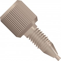 "Adapters & Connectors: Threaded  Adapter, 1/4""-28 Flat Bottom (Female) to 10-32 Coned (Male), PEEK™"
