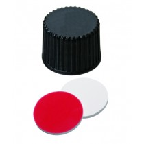 UltraClean Closure (trade mark): PP Screw Cap, black, closed top, 8-425 thread; Silicone white/PTFE red, 45° shore A, 1.3mm