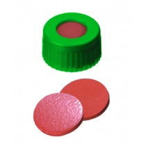 9mm Combination Seal: PP Short Thread Cap, green, centre hole; Natural Rubber red-orange/TEF transparent, 60° shore A, 1.0mm