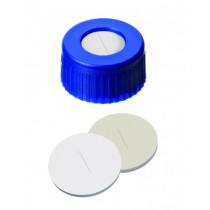 9mm UltraBond Combination Seal: PP Short Thread Cap, blue, centre hole; Silicone beige/PTFE white, 45° shore A, 1.3mm, slitted