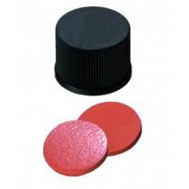 10mm Combination Seal: PP Screw Cap, black, closed top, 10-425 thread; Natural Rubber red-orange/TEF transparent, 60° shore A, 1.3mm