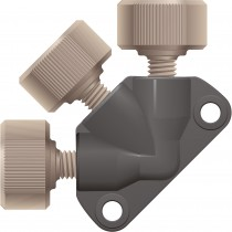 """Adapters & Connectors: Static Mixing Tee, PEEK™, 10µm UHMWPE Frit, 3-Port, for 1/16"""" OD Tubing, 10-32 Coned"""