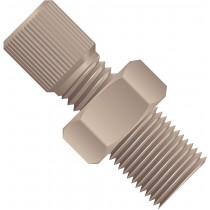 "Adapters & Connectors: Threaded Adapter, 1/8"" NPT (Male) to 5/16""-24 Flat Bottom (Female), PEEK™"