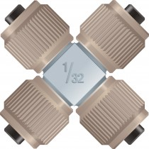 """Adapters & Connectors: VHP MicroCross, for 1/32"""" OD Tubing, 5-16""""-24 Coned, SST"""