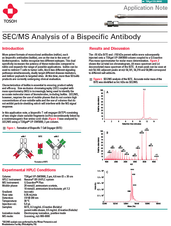 Tosoh Application Note: SEC/MS Analysis of a Bispecific Anti...
