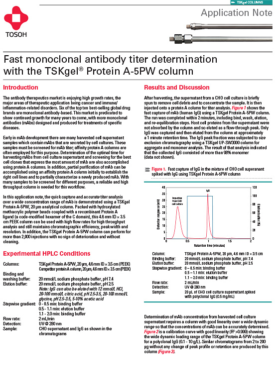Tosoh Application Note: Fast monoclonal antibody titer deter...