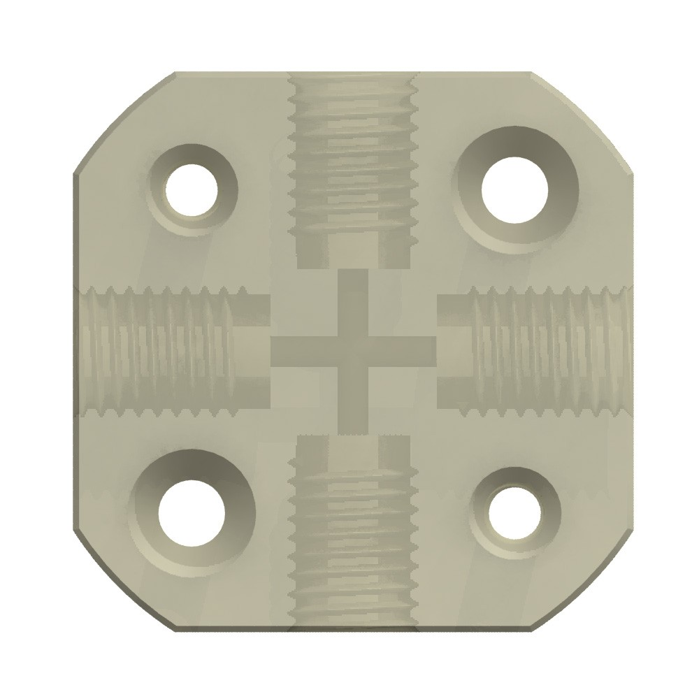 "Adapters & Connectors: Block Connector, 4-Way, 1/4""-28 (Flat Bottom), PEEK™, Mounting holes"