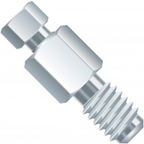 """Adapters & Connectors: Threaded  Adapter, 10-32 Coned (Female)  to 1/4""""-28 Flat Bottom (Male), SST"""