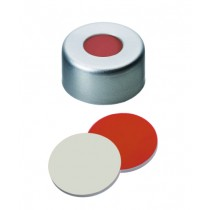 11mm Combination Seal: Aluminium Cap, clear lacquered, with centre hole; Red Rubber / PTFE beige,45° shore A, 1.0mm