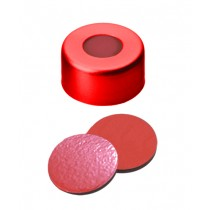 11mm Combination Seal: Aluminium Cap, red lacquered, centre hole; Natural Rubber red-orange/Butyl red/TEF transparent, 45° shore A, 1.0mm