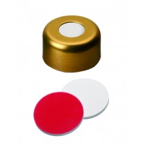 UltraClean Closure (trade mark): 11mm Magnetic Cap, gold lacquered, centre hole; Silicone white/PTFE red, 45° shore A, 1.3mm