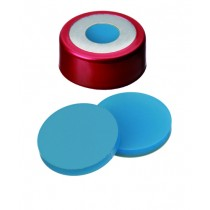 UltraClean Closure (trade mark): 20mm Magnetic Bimetal Cap, red lacquered, 8mm centre hole; Silicone transparent blue/PTFE white, 45° shore A, 3.0mm