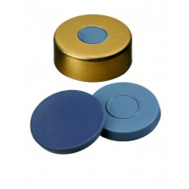 20mm Combination Seal: Magnetic Cap, gold lacquered, 8mm centre hole; Moulded Septa Butyl/PTFE, grey, 50° shore A, 3.0mm