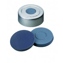20mm Combination Seal: Aluminium Headspace Cap, clear lacquered, centre hole; Moulded Septa Butyl/PTFE, grey, 50° shore A, 3.0mm