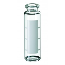 20ml Headspace-Vial, 75.5 x 23mm, clear glass, 1st hydrolytic class, with label and filling lines