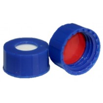 Short Thread Cap Blue 9mm, UltraBond Silicone/PTFE Septa