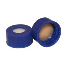 """ST2445-040-X .040"""" (1MM) Thick, slit, tan PTFE/white easy pierce ultra low bleed silicone bonded into dark blue 9mm ribbed screw cap"""