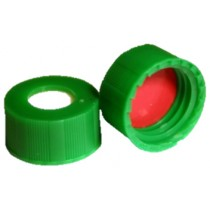 Short Thread Cap Green 9mm, Silicone / Red PTFE Septa