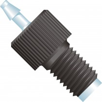 """Adapters & Connectors: Swivel Barbed to Thread Adapter, 1/16"""" (1.55mm) ID to 1/4""""-28 Flat Bottom, Polypropylene, Natural/Black"""