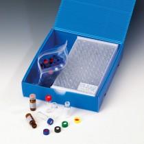 SmartPack Short Thread Vial, 9mm, Label & Red Rubber/PTFE Cap, Blue
