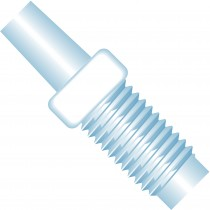 """Adapters & Connectors: Adapter, Luer (Male) to 1/4""""-28 Flat Bottom (Male), ETFE"""