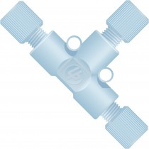 """Adapters & Connectors: Tee for 1/16"""" OD Tubing, 1/4""""-28 Flat Bottom, ETFE"""