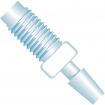 "Adapters & Connectors: Barbed to Thread Adapter, 1/4""-28 Flat Bottom to 1/8"" (3.20mm) ID, ETFE"