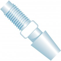 "Adapters & Connectors: Barbed to Thread Adapter, 1/4""-28 Flat Bottom to 3/16"" (4.75mm) ID, ETFE"