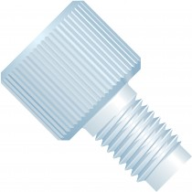 """Adapters & Connectors: Threaded Adapter, M6 Flat Bottom (Female) to 1/4""""-28 Flat Bottom (Male), PCTFE"""