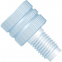 """Adapters & Connectors: Threaded Adapter, 5/16""""-24 Flat Bottom (Female) to M6 Flat Bottom (Male), PCTFE"""