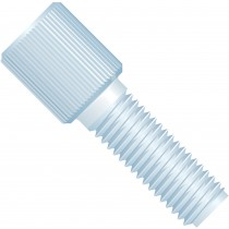 "Adapters & Connectors: Threaded  Adapter, 1/4""-28 Flat Bottom (Female) to 1/4""-28 Flat Bottom (Male), PTFE"