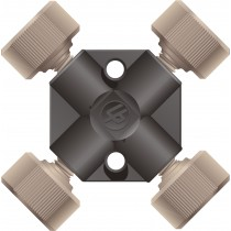"Adapters & Connectors: PEEK Cross, for 1/16"" OD Tubing, 10-32 Coned"