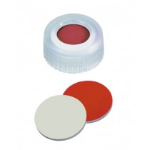 9mm Combination Seal: PP Short Thread Cap, transparent, with centre hole; Red Rubber / PTFE beige, 45° shore A, 1,0mm (Agilent Quality)