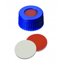 9mm Combination Seal: PP Short Thread Cap, blue, with centre hole; Red Rubber / PTFE beige, 45° shore A, 1,0mm