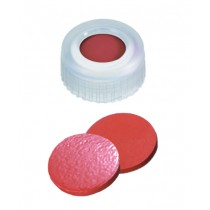 9mm Combination Seal: PP Short Thread Cap, transparent, centre hole; Natural Rubber red-orange/TEF transparent, 60° shore A, 1.0mm