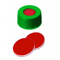 9mm Combination Seal: PP Short Thread Cap, green, centre hole; PTFE red/Silicone white/PTFE red, 45° shore A, 1.0mm