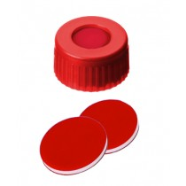 9mm Combination Seal: PP Short Thread Cap, red, centre hole; PTFE red/Silicone white/PTFE red, 45° shore A, 1.0mm