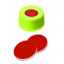 9mm Combination Seal: PP Short Thread Cap, yellow, centre hole; PTFE red/Silicone white/PTFE red, 45° shore A, 1.0mm