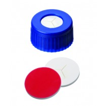 9mm Combination Seal: PP Short Thread Cap, blue, centre hole; Silicone white/PTFE red, 55° shore A, 1.0mm, pre-cut (Y)