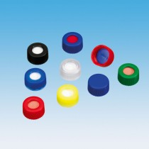 9mm Combination Seal: PP Short Thread Cap, red, centre hole; Silicone white/PTFE blue, 55° shore A, 1.0mm, slitted