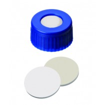 9mm UltraBond Combination Seal: PP Short Thread Cap, blue, centre hole; Silicone beige/PTFE white, 45° shore A, 1.3mm