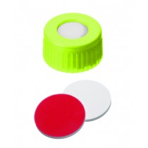 UltraClean Closure (trade mark): 9mm PP Short Thread Cap, yellow, centre hole; Silicone white/PTFE red, 55° shore A, 1.0mm