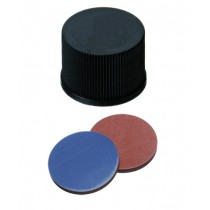 15mm Combination Seal: PP-Screw Cap, black, closed top, screw 15-425; Butyl red/PTFE grey, 55° shore A, 1,6mm