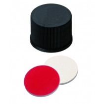 15mm Combination Seal: PP Screw Cap, black, closed top; Silicone white/PTFE red, 45° shore A, 1.3mm