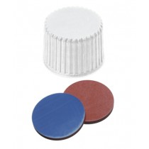 20mm Combination Seal: PP Screw Cap, white, closed top, 20-400 thread; Septum, Butyl red/PTFE grey, 55° shore A, 1.3mm